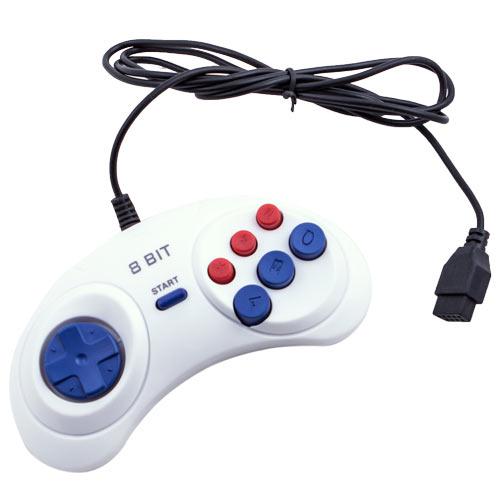 8-bit Controller (форма Sega) 9р White узкий разъем